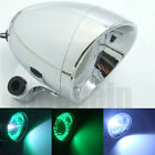 Motorcycle LED Spot Lights COB Angel Eye Green + White Light Headlight Fr Harley