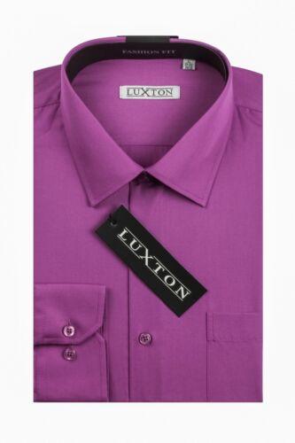 cotton 60/%//poly40/% CONVERTIBLE CUFF NEW Luxton Men/'s Fashion Fit Dress Shirt