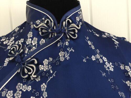 Vintage Bleu Marine Chinois Robe de Soirée Longueur Genou Taille L//UK 10//EU38 BRAND NEW