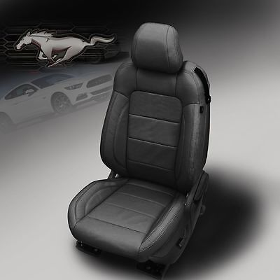 2015 2019 Ford Mustang Gt V6 Eco Coupe Katzkin Black Leather Seat Covers Kit Ebay