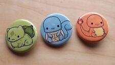 "Pokemon Bulbasaur Squirtle Charmander Pin / Button 1-1/4"" New Unused Handmade"