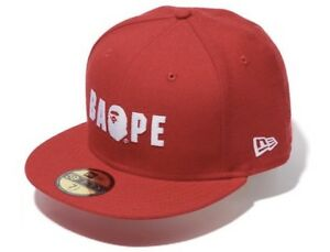 A BATHING APE NEW ERA BAPE 7 3 4 FITTED CAP RARE HAT RED XL MINT ... af128ae175b