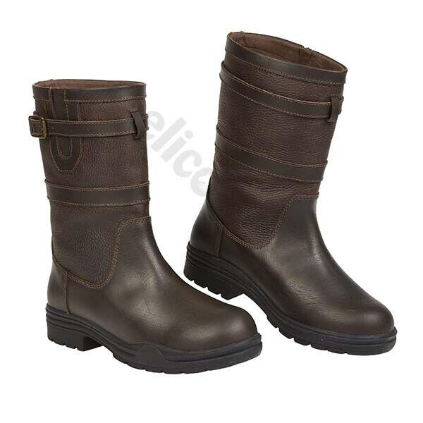 Elico Ilkley Corto Impermeable Marrón Cuero botas De País4-UK9