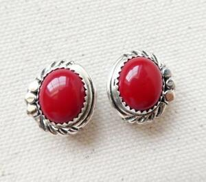 Native-American-Delores-Cadman-Navajo-Sterling-Silver-Red-Coral-Clip-Earrings