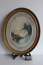 Aquatinte L'AQUARIUM Signé RAOUL FERRY Elégante Erotique Style Louis Icart