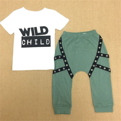 Toddler Kids Baby Boys Summer Casual Clothes T-shirt Tops/&Pants Outfit 2Pcs Set