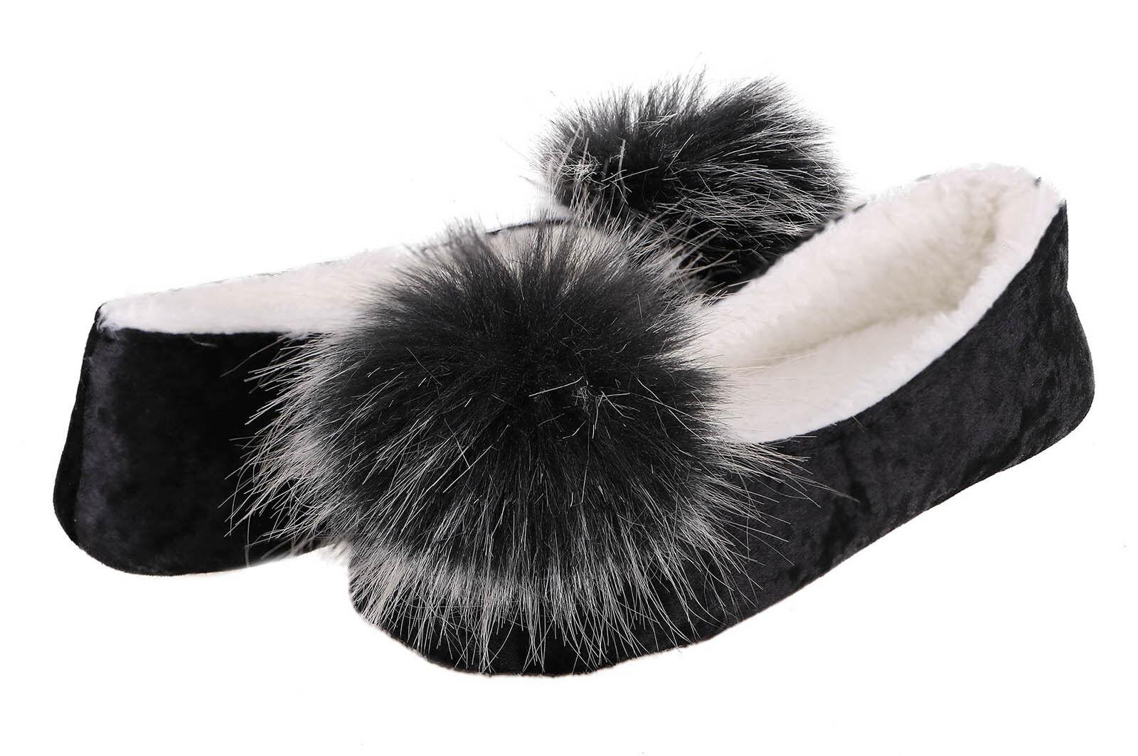 Women Winter Warm Home Antiskid Slippers Soft Plush Indoor Pom Slipper Shoes