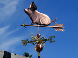 """Amicable Copper """"little Piggy"""" Weathervane Made In Usa #117 A Great Variety Of Goods Antiques"""