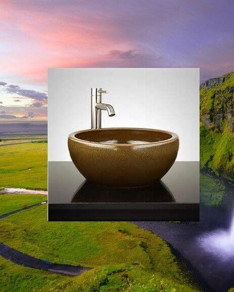 Signature Hardware Round Polished Beige Travertine Vessel Sink With Offset Rim For Sale Online Ebay