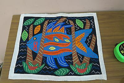 "Vintage Mola Panama HandMade Folk Art Fish Tapestry 12"" x 15"" quilted Embroidery"