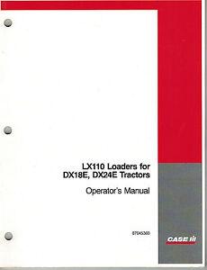 s l300 case ih lx110 loaders operator's manual \