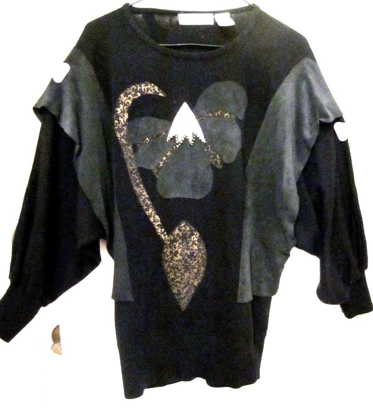 Vtg Adriano by Fatigati daMänner Sweater Crystals Leather Embelished oben Medium