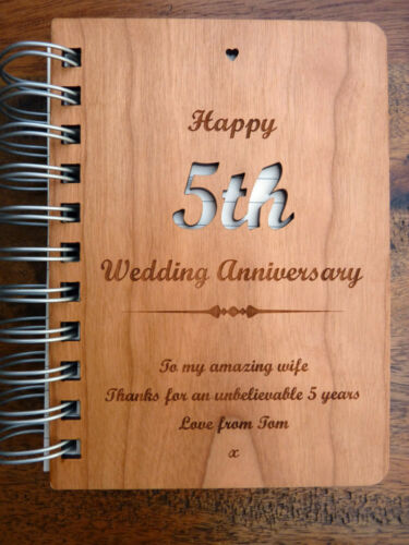 Personalised 5th Wedding Anniversary Wooden Notebook Gift Wood Card Cover