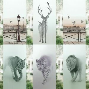 Frosted Privacy Window Film Deer Tiger Lion Stained Glass Static Cling Sticker