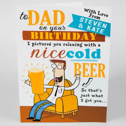 RELATION MALE BIRTHDAY GREETINGS CARD Personalised funny joke BEER ANY NAME