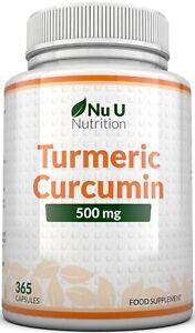 Turmeric Curcumin 365 Capsules High Strength 500mg Anti-inflammatory Pain Relief