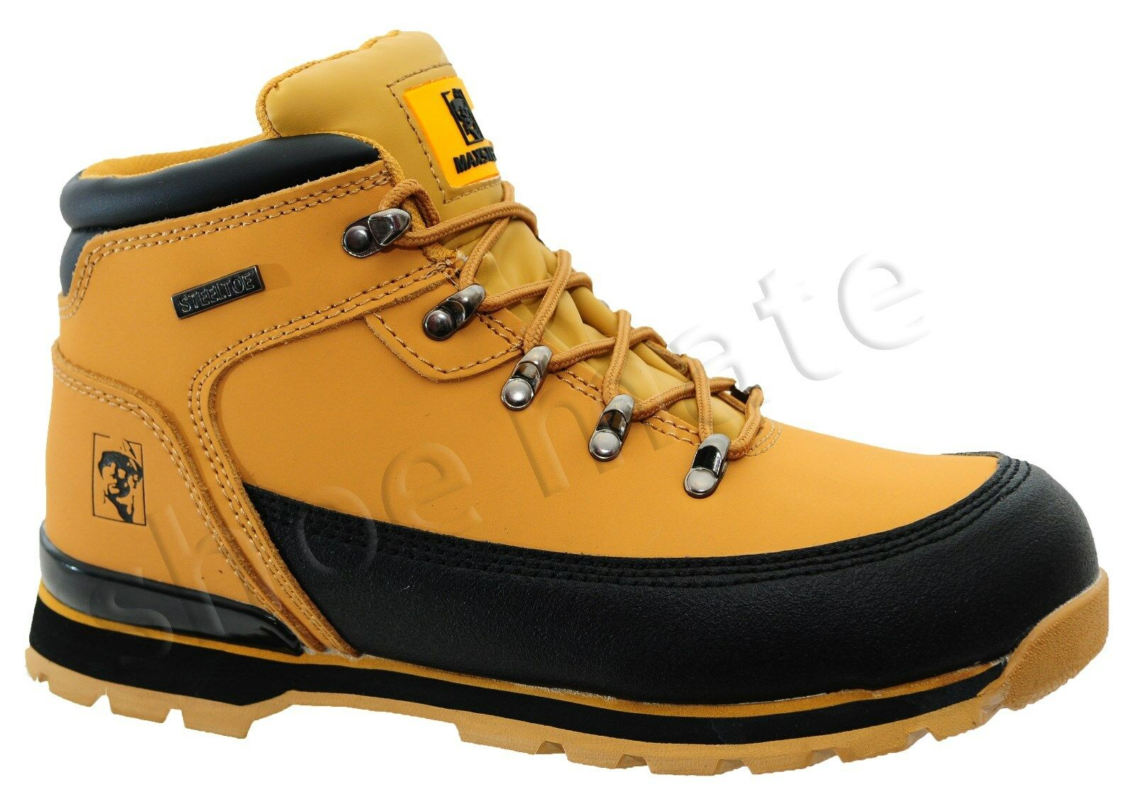MENS LEATHER LIGHTWEIGHT STEEL TOE CAP SAFETY ANKLE WORK BOOTS SHOES TRAINERS UK