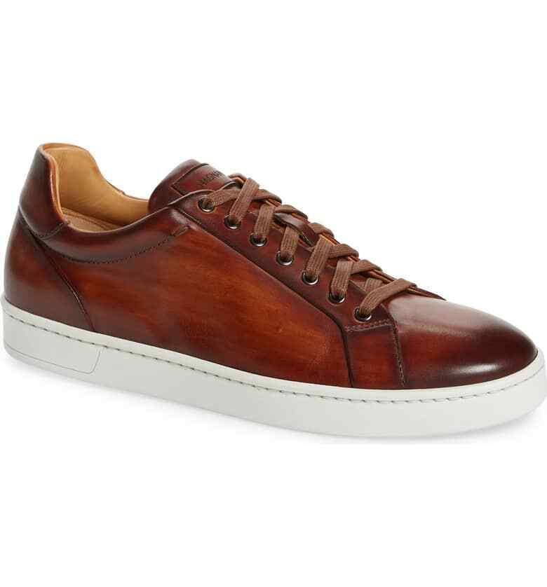 Magnanni Men's Elonso Low Top Sneaker Size 9M Cognac Leather, MSRP