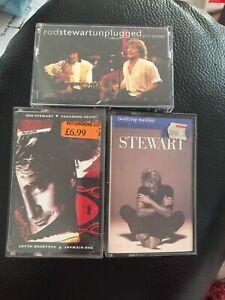 Bundle Of 3 Cassette Tapes Rod Stewart Vagabond Heart, Unplugged & Seated Waltz