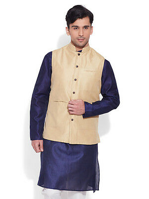 Very Me Men's Faux Silk Cream Nehru Jacket(MFNJ1505)