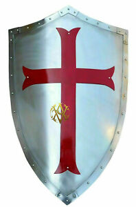 Steel Shield Medieval Red Cross Armour Shield Knight Costume Decorate Gift Item.