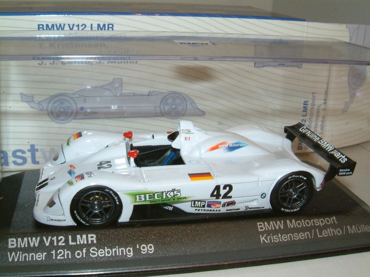 muchas sorpresas 1 43 1999 1999 1999 BMW V12 LMR 12 H SEBRING GANADOR. Kristensen LETHO MULLER MINICHAMPS  calidad garantizada
