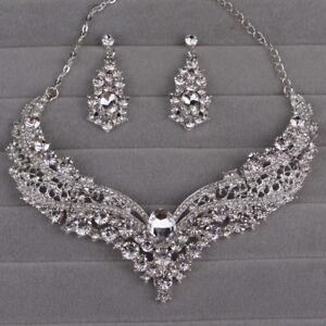 Frauen-Schmuck-Sets-Hochzeit-Braut-Kristall-Strass-Halskette-Ohrring