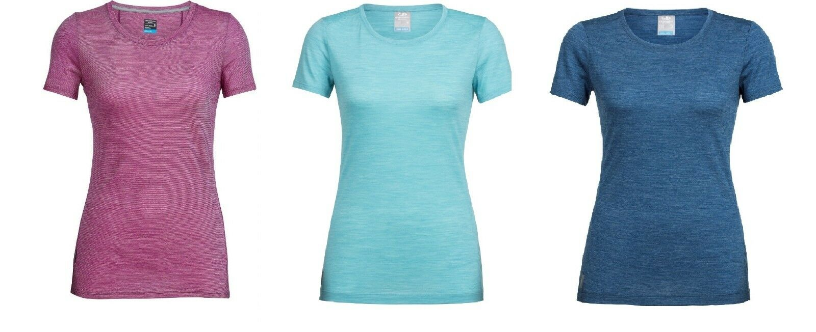 Icebreaker Damen Shirt Sphere SSL Crew Stripe, kühlend, leicht, Wolle, Modell 18