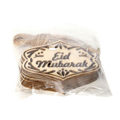 10pcs DIY Eid Mubarak Ornaments Wooden Hollow Pendants Crafts Ramadan Decor RDR