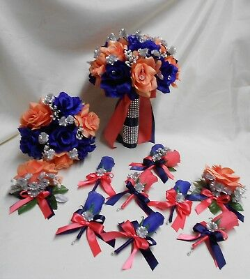Coral Navy Blue Rose Silk Wedding Flowers Bridal Bouquet Artificial Flower Wedding Flower Set Faux Diamonds Bridal Bouquet Package