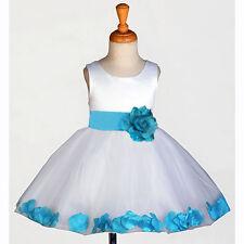 White Flower Girl Dress Wedding Bridesmaid Birthday Pageant PRINCESS ROSE PETAL