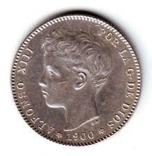 ESPAÑA: 1 peseta plata 1900 *19* *00*  Rey ALFONSO XIII  S/C Muy bella SPAIN