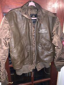 Viaje frio traje  Chaqueta de Cuero Genuino Breitling Alpha Industries | eBay