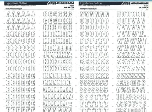 MECANORMA Transfer Lettering Sheet A3 Letraset #427 EGYPTIENNE OUTLINE 14mm