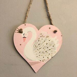 Handmade Swan wooden hanging Heart Plaque Decoupaged Room Decor Door Sign 12cm
