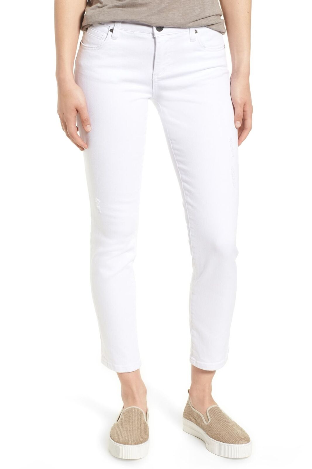 KUT from the Kloth 150946 Catherine Straight Leg Ankle Jeans (Optic White) Sz. 0