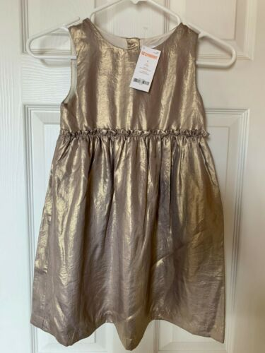 Size 7 NWT Gymboree Girl/'s Holiday Dress Fully Lined Gold Crinkle Tone