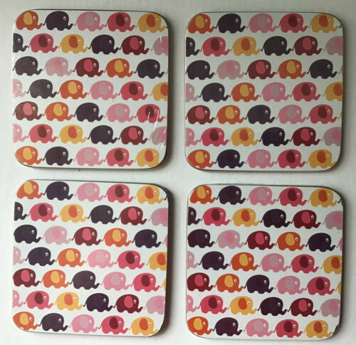 Drinks Coaster from Ella Bella Elephants Design Coaster Cork Backed Set of 4 NEW
