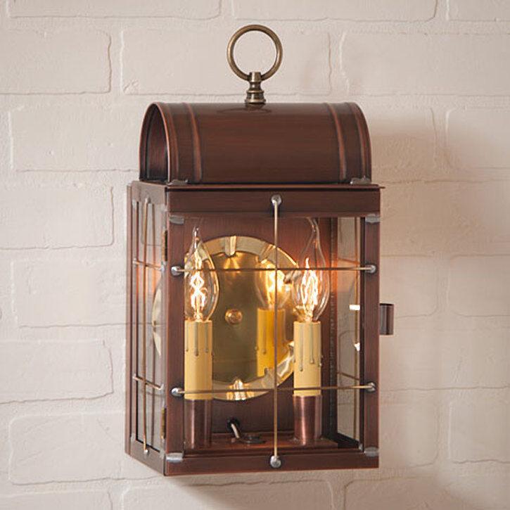 Colonial nuevo Tollhouse Al Aire Libre Lámpara Linterna Luz De Cobre Envejecido