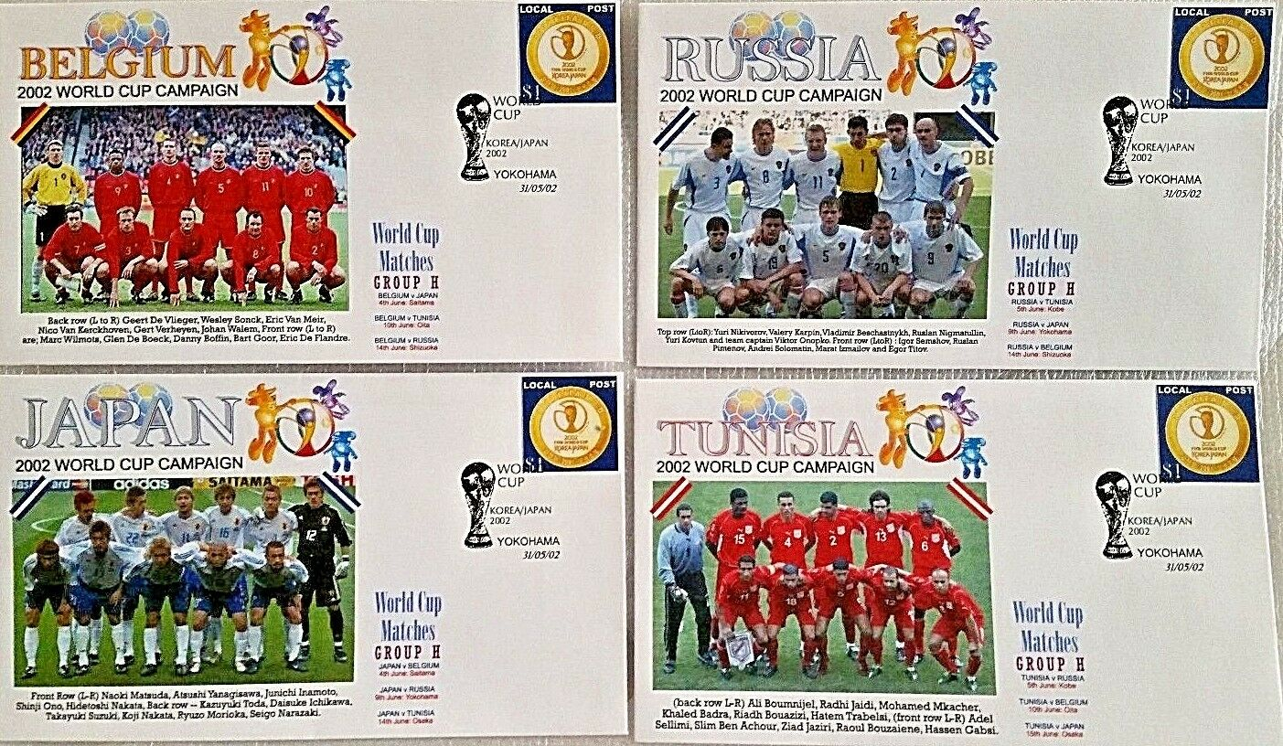 Copa del Mundo 2002 Grupo H-Bélgica, Japón, Rusia, Túnez, First Day Covers