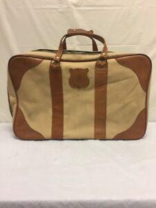 Vintage-Oleg-Cassini-Canvas-amp-Brown-Leather-Luggage