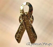 NEW Animal Cruelty Awareness Gold Paw Print Charity Ribbon Brooch Pin Cat Dog