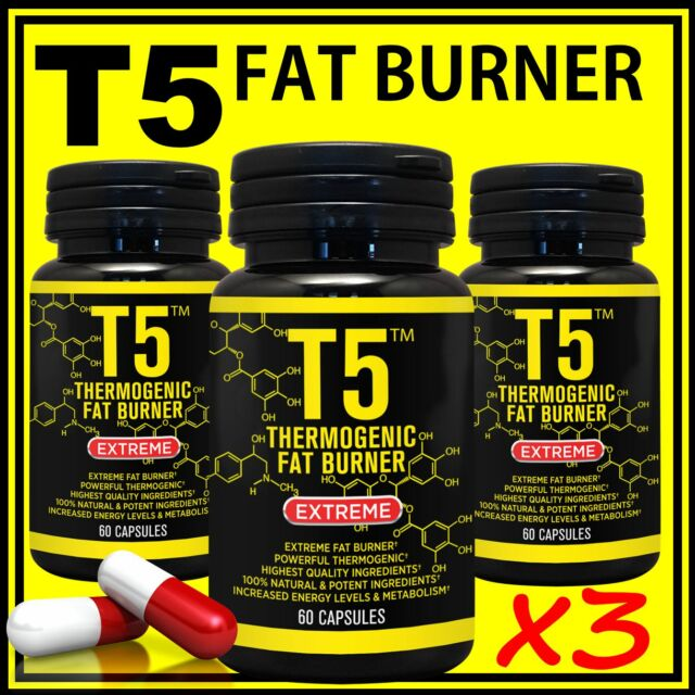 2 x BOTTLES T5 THERMOGENIC FAT BURNING PILLS STRONGEST LEGAL DIET WEIGHT LOSS