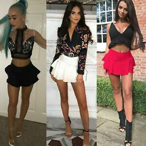 Womens-Ruffled-Frill-Skorts-High-Waisted-Ladies-Party-Mini-Skirt-Dress-Shorts