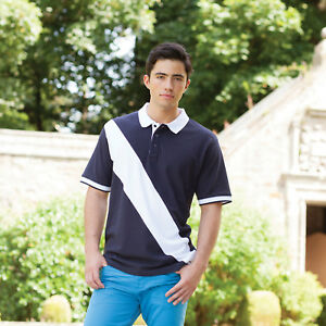 Front-Row-Diagonal-Stripe-Sewn-House-Coton-Pique-Polo-Shirt-Hommes-Sport-Tailles