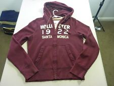 037 MENS EX-COND HOLLISTER MAROON / WHITE ZIP UP L/S THICK HOODIE LRG $110 RRP.