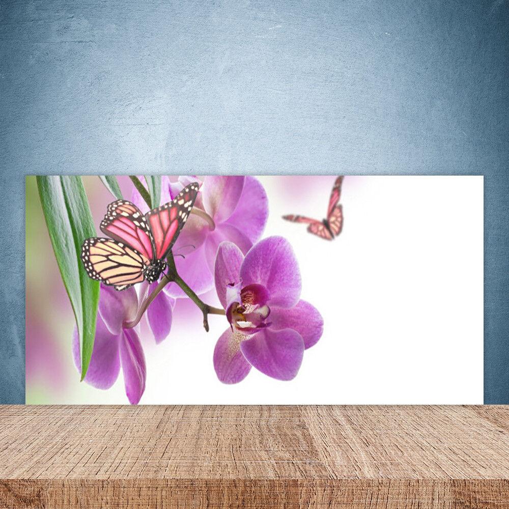 Vidrio Templado Cocina salpicaduras 100x50 Mariposas Flores Naturaleza