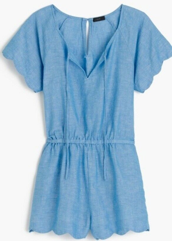 NWT JCREW  79.50  Scalloped cotton-linen romper SizeXS G6217 Vivid Waterfall