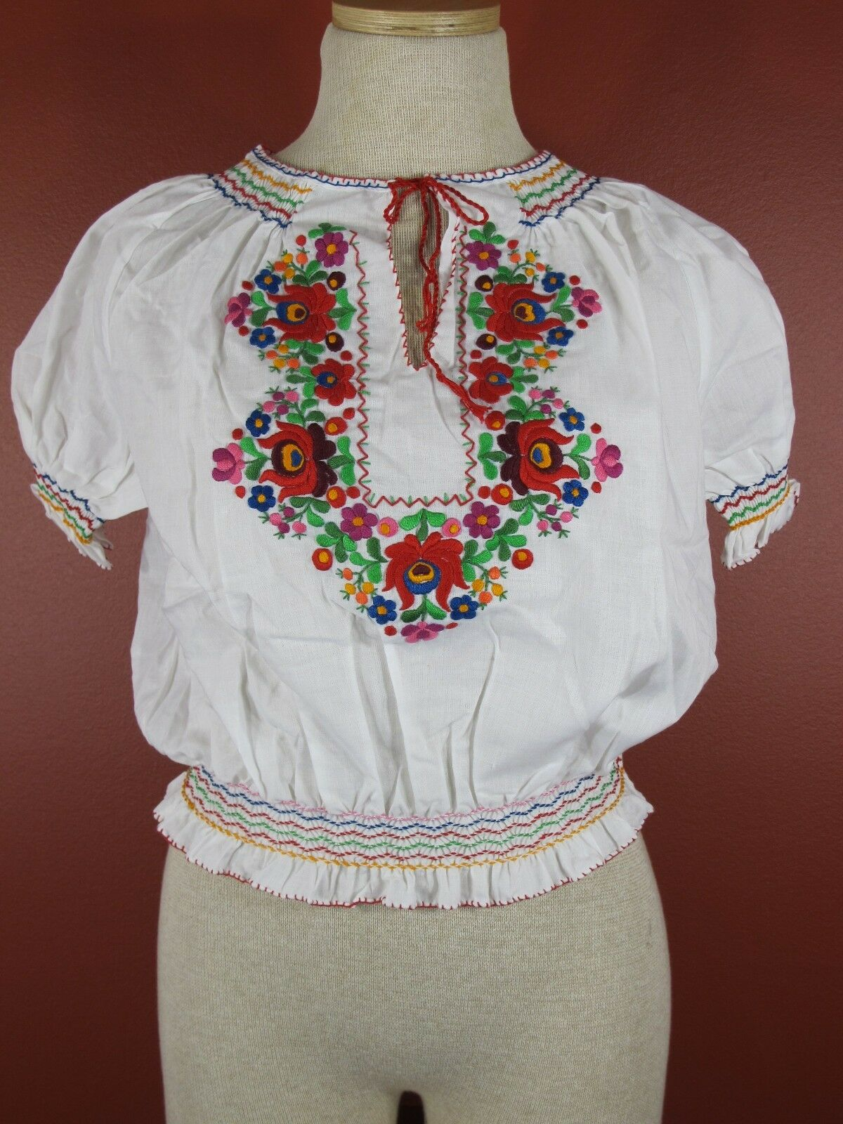 Rare Vintage Traditional Hungarian Embroiderot Floral Blouse Folk Top New