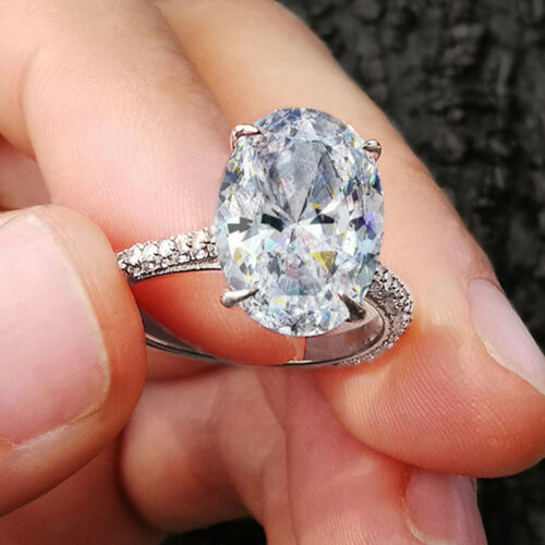 3.00ct Oval and Round Cut Diamond Engagement Wedding Ring 10k Solid White Gold